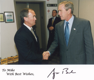 Author Michael O'Brien with President George Bush